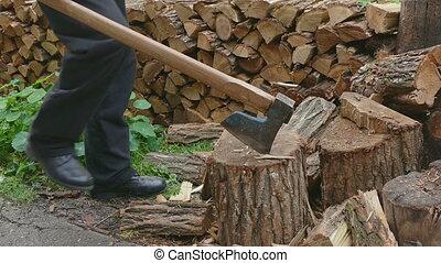 Lumberjack splitting firewood logs - Lumberjack chopping...