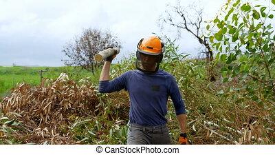 Lumberjack throwing wooden log 4k - Lumberjack throwing ...