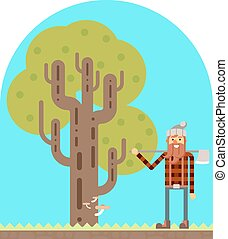 Lumberjack Tree wood nature concept flat design landscape background template vector illustration
