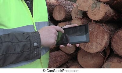 Lumberjack using tablet and camera focusing on logs