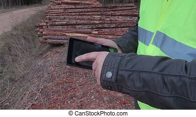 Lumberjack using tablet near the log pile