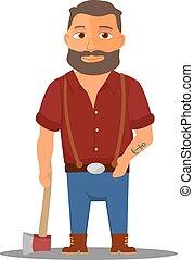lumberjack, vetorial, personagem, caricatura, axe.