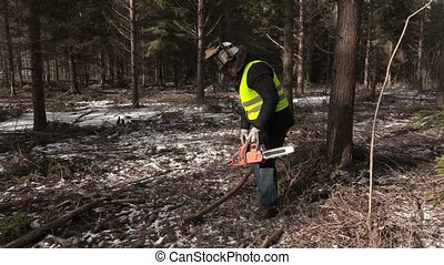 Lumberjack with chainsaw finish work and walking away