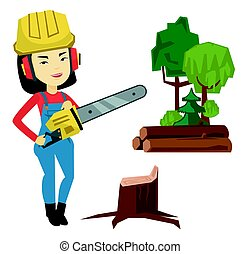 Lumberjack with chainsaw vector illustration.
