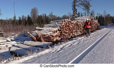 Lumberjack with rope and ax walking near pile of logs