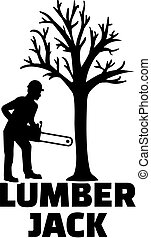 Lumberjack with silhouette and word