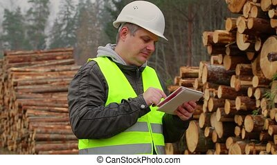 Lumberjack with tablet PC near pile