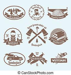 Lumberjack woodcutter label
