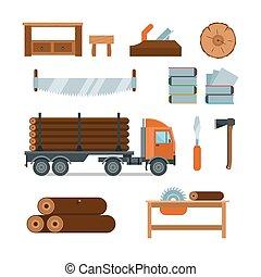 Lumberjack woodworking tools icons vector illustration