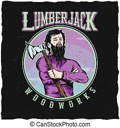 Lumberjack Woodworks Label Design Poster
