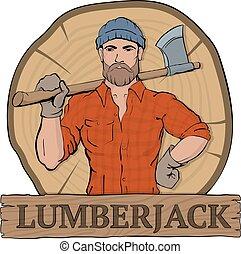 lumberjeck on cut down tree wooden background - Lumberjack....