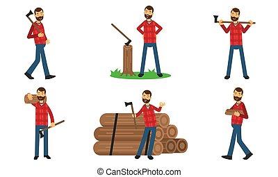 lumberman, action, ensemble, illustration, vecteur, poses, différent