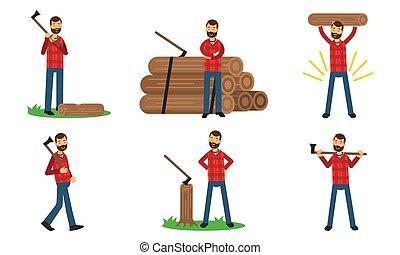 lumberman, akció, állhatatos, ábra, vektor, beállít, ...