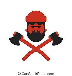 lumberman, axes., favágó, jelkép., fickó, woodcutter, logo...