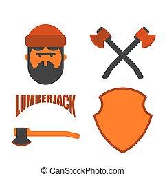 lumberman, axes., favágó, jelkép., set., fickó, woodcutter, ...