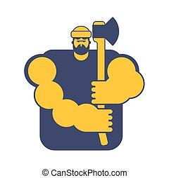 lumberman., axes., isolated., nagy, favágó, fickó, axe., ...