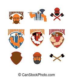lumberman, cégtábla., axes., favágó, jelkép., fickó, ...