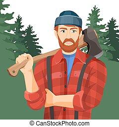 lumberman, elem, forest., woodworking, fejsze, axeman