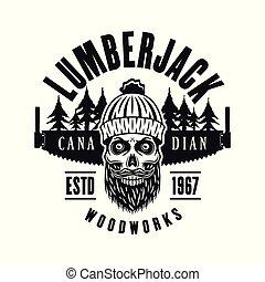 lumberman, embléma, koponya, két, kéz, vektor, fűrész