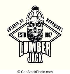 lumberman, embléma, koponya, szakállas, vektor, rombus