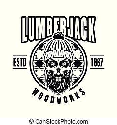 lumberman, embléma, koponya, vektor, karika, szakáll