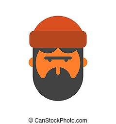 lumberman, favágó, sapka, woodcutter, head., face., szakáll