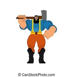 lumberman, isolated., favágó, woodcutter, erős, ax.
