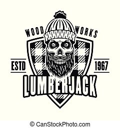 Lumberman skull and shield vector vintage emblem