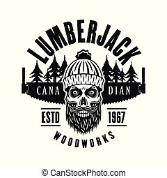 Lumberman skull with two hand saw vector emblem
