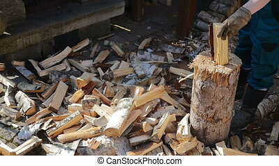 Lumberman Working Wood - High up shot of wooden log being...