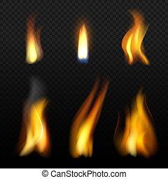 lume di candela, fuoco, isolamento, fuego, realistico, vettore, fiamma, effetti, fumo, arancia, template.