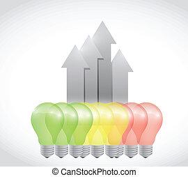 lumière, énergie, illustration, conception, graphique, ampoule