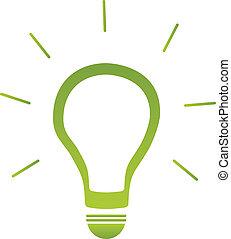 lumière, énergie, vert, ampoule