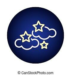 lumière, étoiles, néon, style, nuages, icône