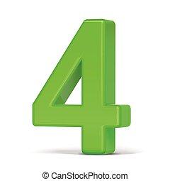 lumière, 3d, vert, 4, nombre