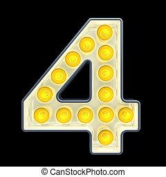 lumière, 4, nombre, rendre, incandescent, retro, font., ampoule, 3d