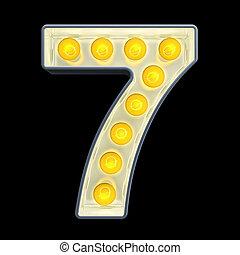lumière, 7, nombre, rendre, incandescent, retro, font., ampoule, 3d