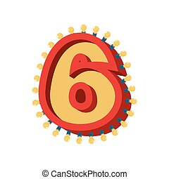 lumière, alphabet, 6, nombre, étincelant, incandescent, lumières, lampe, abc, retro, font., vendange, six., ampoule, signe