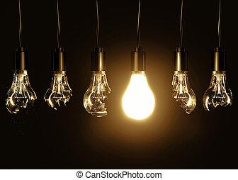 lumière, ampoules, ampoule, cassé