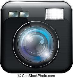 lumière, app, flash, lentille, appareil photo, icône