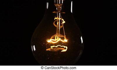 lumière, arrière-plan noir, scintiller, ampoule