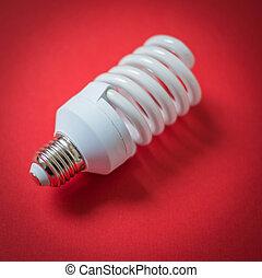 lumière, arrière-plan rouge, ampoule