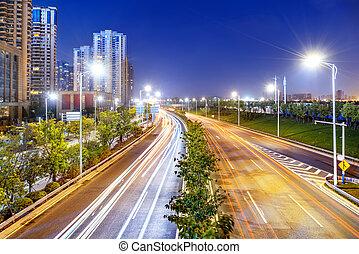 lumière, autoroute, nuit