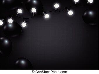 lumière, balloon, arrière-plan noir, ampoule