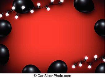 lumière, balloon, arrière-plan rouge, ampoule