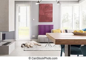 lumière, beige, contemporain, salle de séjour