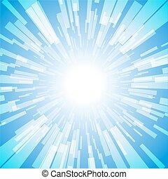 lumière bleue, éclater, raie, rayon