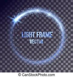 lumière bleue, cadre, vecteur