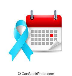 lumière bleue, calendrier, ruban, conscience