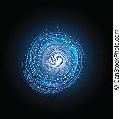 lumière bleue, clair, galaxie, vagues